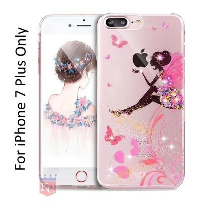 Printed Sitting Girl Holding Apple Diamond Soft Transparent Back Cover for IPhone 7 Plus